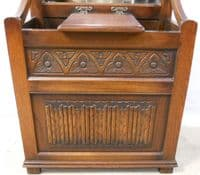 Carved Oak Mirror Front Hallstand by Old Charm - SOLD
